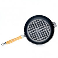 4096 FISSMAN Сковорода для жарки 27x4,8 см с рифленым дном и деревянной ручкой (чугун)
