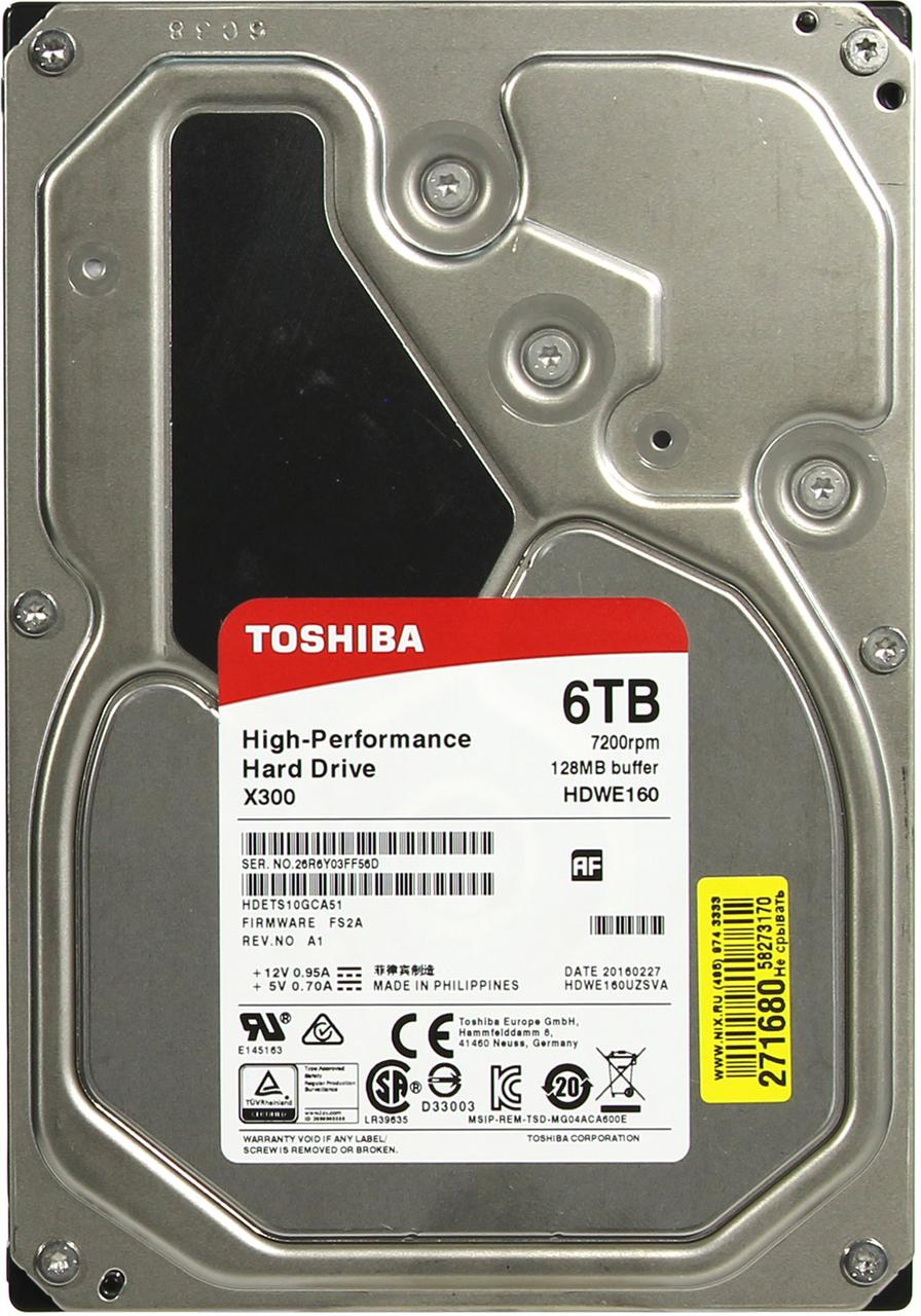 Жесткий диск TOSHIBA HDWE160UZSVA X300 BULK High-Performance 6000ГБ