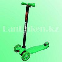Детский самокат четырехколесный с LED подсветкой колес и металлической рамой (зеленый)