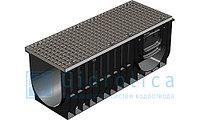 Комплект: Лоток водоотводный Gidrolica Standart ЛВ-30.38.38 - пластиковый с решеткой стальной ячеистой оцинков, фото 1