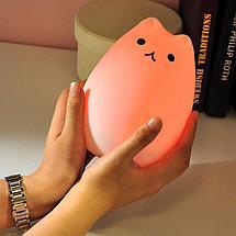 Силиконовый LED ночник-лампа Кошечка, фото 3