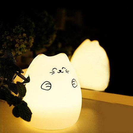 """Силиконовый LED ночник-лампа """"Кошечка"""" Улыбка, фото 2"""