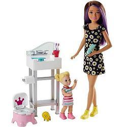 "Barbie ""Скиппер, Нянечки"" Кукла Барби-Подросток, Шатенка Набор с горшком"