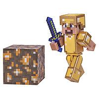 Minecraft Стив с комплектом золотой брони (7 см)