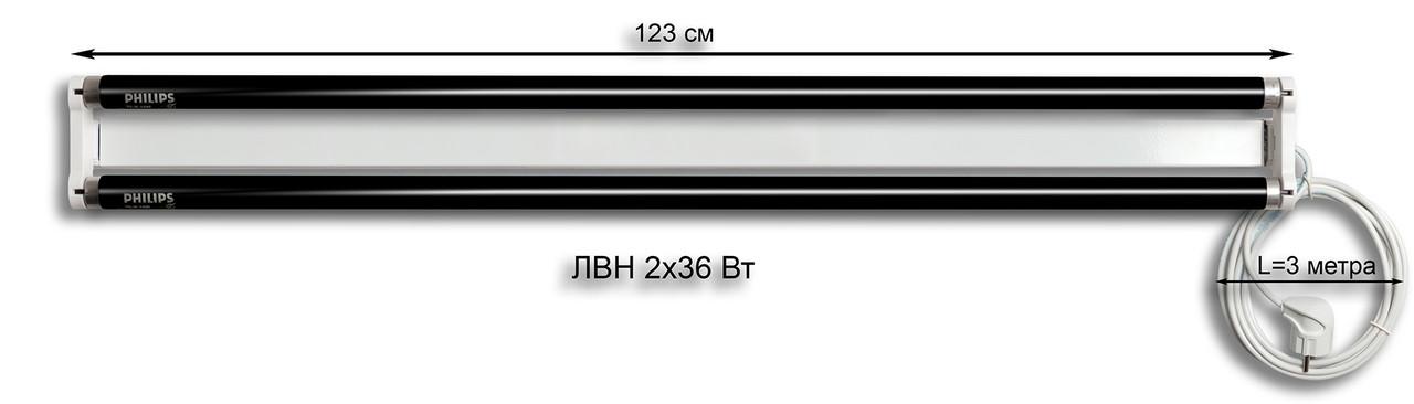 Лампа Вуда ЛВН 2х36 Вт (черный ультрафиолет)