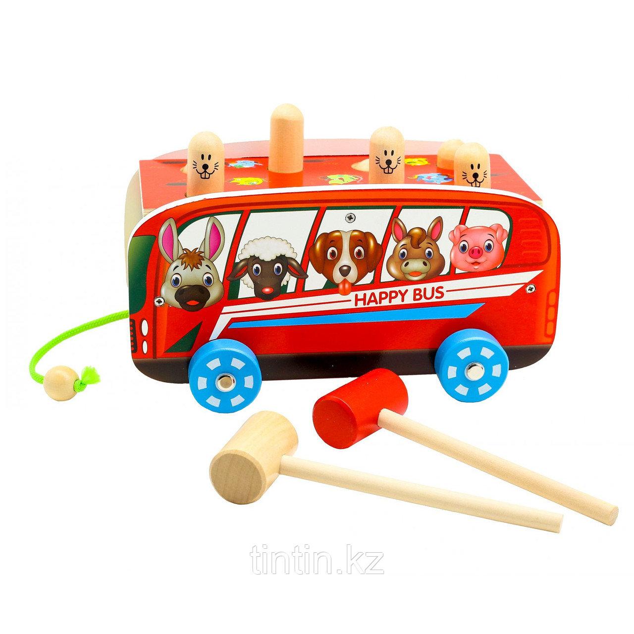 Деревянная игрушка стучалка-каталка - Автобус