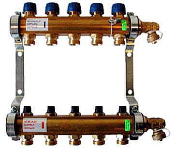 Коллектор типа HKV с терморегул-ми и гидравлич-ми вентилями для систем теплых полов со слив. кранами