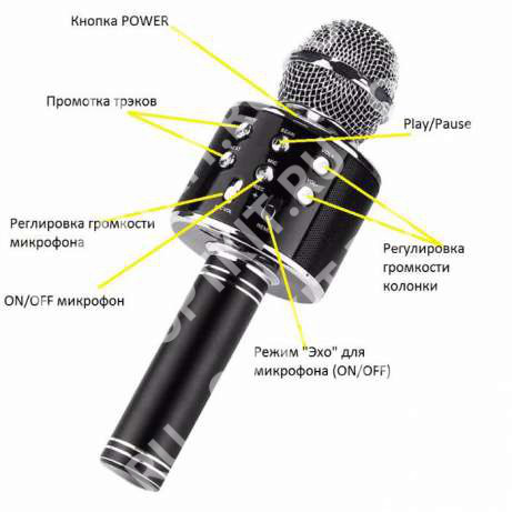 Беспроводной караоке микрофон со встроенной колонкой «Wster» WS-858
