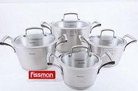 5812 FISSMAN Набор посуды MILLENNIUM 8 пр. со стеклянными крышками (нерж. сталь)