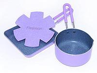 4867 FISSMAN Набор PETITE из ковша 12x6 см / 0,67 л и квадратной сковороды 14x3 см (алюминий с антипригарным п