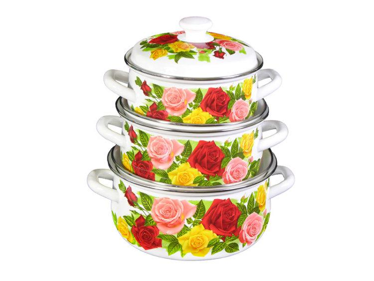 Набор эмалированных кастрюль Розовый рай