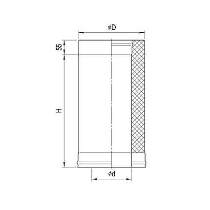 Дымоход Ferrum Сэндвич из нержавеющей стали 430/0,5 мм 500мм, Ф160х250, фото 2