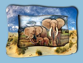 """Объемная картина """"Слоны на прогулке"""""""