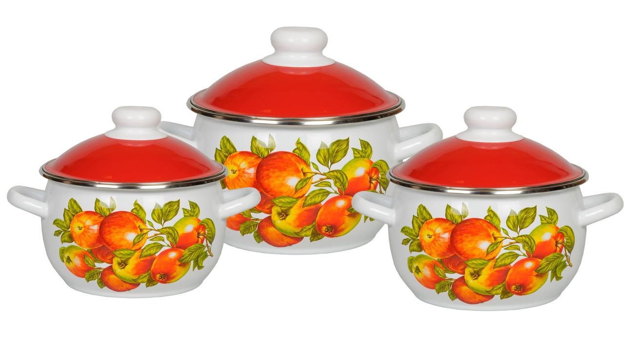Набор эмалированных кастрюль Яблочный сезон