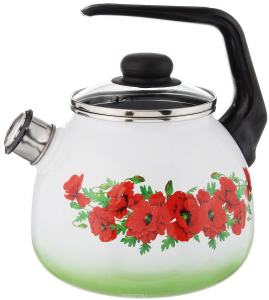 Чайник эмалированный со свистком Восточный мак 2 литра