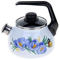 Чайник эмалированный со свистком Крокусы 2 литра