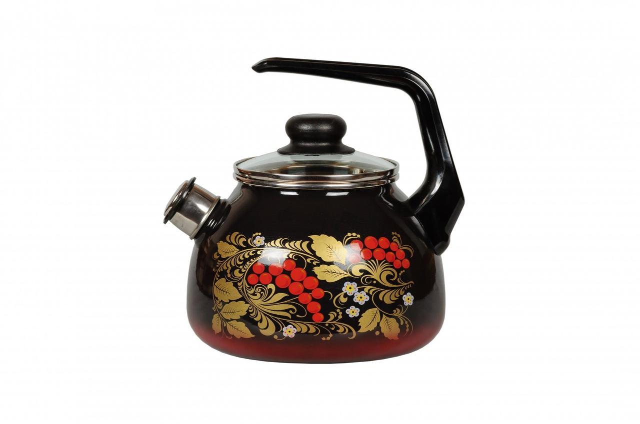 Чайник эмалированный со свистком Рябина 2 литра