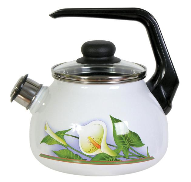 Чайник эмалированный со свистком Каллы 2 литра