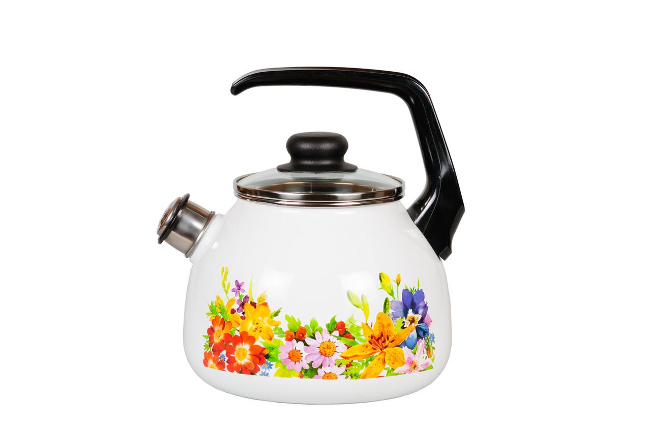 Чайник эмалированный со свистком Полянка 3 литра