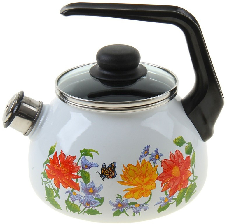 Чайник эмалированный со свистком Цветочный 3 литра