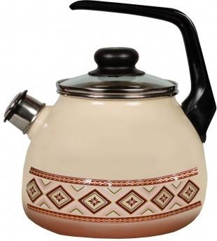 Чайник эмалированный со свистком Шоколад  3 литра