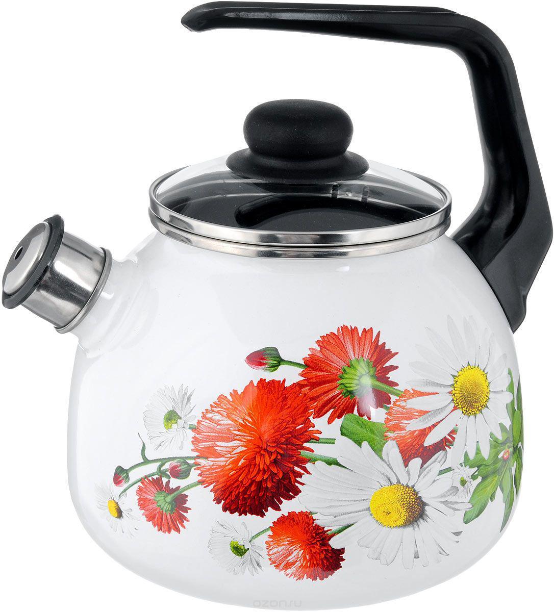 Чайник эмалированный со свистком Маргаритки 3 литра