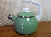 Чайник эмалированный со свистком Зеленое яблоко 2.5 литра
