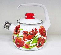 Чайник эмалированный со свистком Тюльпан 2.5 литра