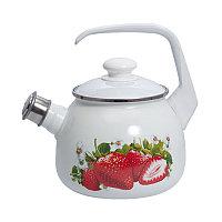 Чайник эмалированный со свистком Клубника 2.5 литра