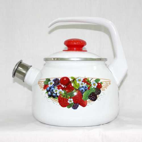 Чайник эмалированный со свистком Ягодный микс 2.5 литра