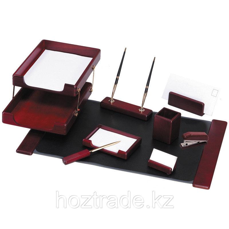 Набор руководителя настольный Delucci 9 предметов красное дерево