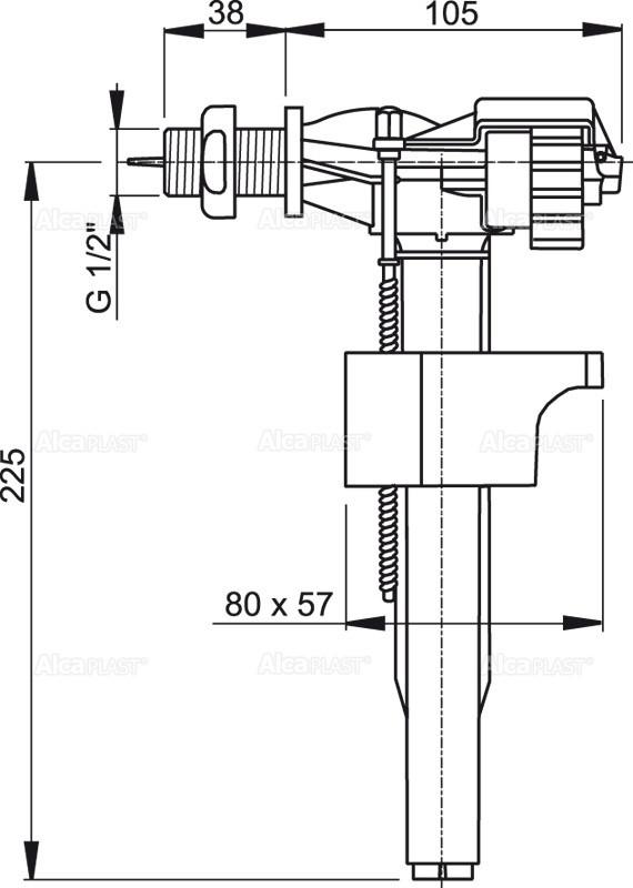 """Впускной механизм с боковой подводкой для керамических бачков A15 1/2 """" - фото 2"""