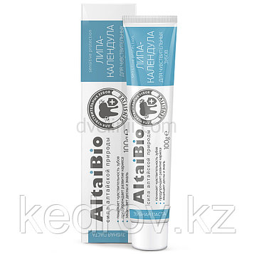 AltaiBio Зубная паста для чувствительных зубов Липа-календула 100 гр., туба.пачка