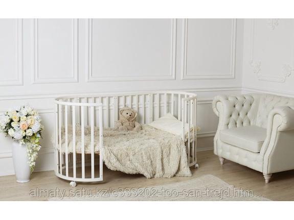 Кроватка детская-трансформер 7в1 +маятник цвет Белый