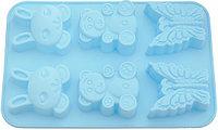 6647 FISSMAN Форма для выпечки 6 кексов ЗАЙЧИК, МИШКА, БАБОЧКА 26x18,3x2,8 см, цвет ЛАЗУРНЫЙ (силикон)