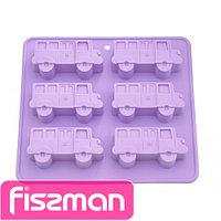 6652 FISSMAN Форма для выпечки 6 кексов АВТОБУС 22x20x2,8 см, цвет ЛИЛОВЫЙ (силикон)