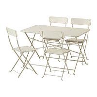 Стол+4 складных стула САЛЬТХОЛЬМЕН бежевый ИКЕА, IKEA