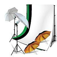 2 зонта на отражение (золото) на стойках с патронами под лампу + 3 фона