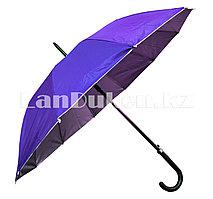 Зонт трость полуавтомат двухцветный фиолетовый/серебристый