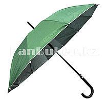 Зонт трость полуавтомат двухцветный зеленый/серебристый