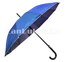Зонт трость полуавтомат двухцветный синий/серебристый
