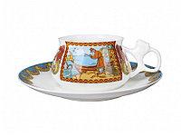 Кофейная чашка с блюдцем Сказка о рыбаке и рыбке. Костяной фарфор, авторская работа