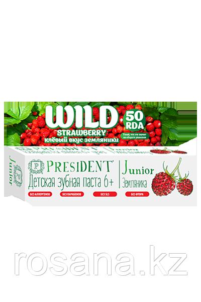 PresiDent Junior 6+ зубная паста со вкусом земляники без фтора