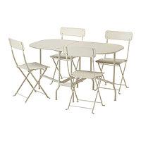 Стол+4 складных стула, д/сада САЛЬТХОЛЬМЕН бежевый ИКЕА, IKEA