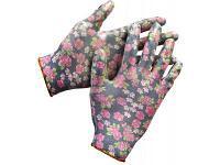 Перчатки садовые Grinda (прозрачное нитриловое покрытие, размер S-M, черные)