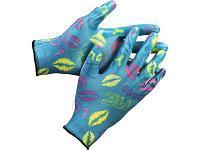 Перчатки садовые Grinda (прозрачное нитриловое покрытие, размер S-M, синие)