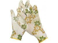 Перчатки садовые, прозрачное PU покрытие, бело-зеленые Grinda )