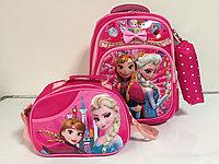 Школьный рюкзак для девочек в 1-ый класс в комплекте.Высота 37 см, длина 28 см, ширина 17 см., фото 1