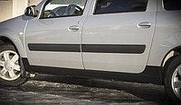 """Накладки на пороги """"АртФорм"""" (темно-серое теснение) Лада Ларгус с 2012 г.в., фото 1"""