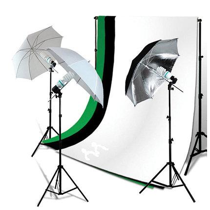 2 зонта на отражение (серебро) на стойках с патронами под лампу и 3-мя фонами, фото 2